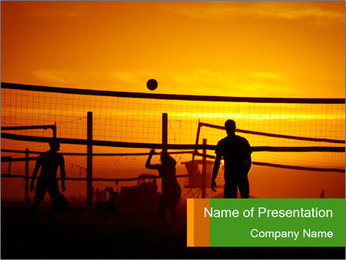 Beach volleyball PowerPoint Template - Slide 1
