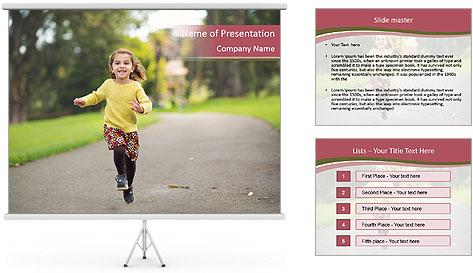 Happy Child Running PowerPoint Template
