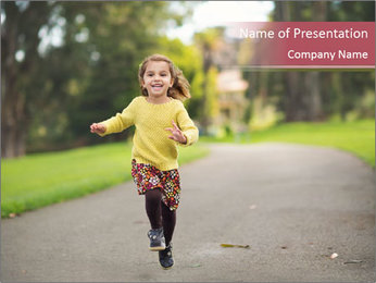 Happy Child Running PowerPoint Templates - Slide 1
