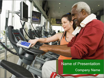 Female instructor assisting senior man PowerPoint Template
