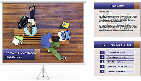 Top view of male and female university students PowerPoint Template