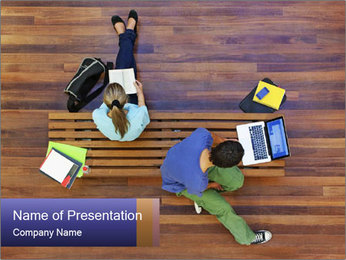 Top view of male and female university students PowerPoint Templates - Slide 1
