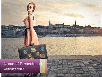 Beautiful tourist with vintage suitcase PowerPoint Template - Slide 1
