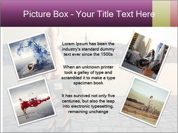 Beautiful tourist with vintage suitcase PowerPoint Template - Slide 24