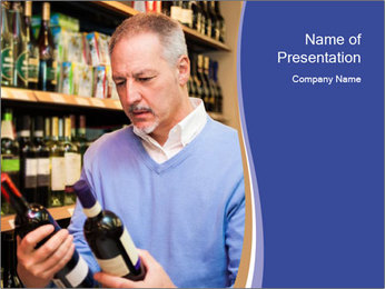 Man choosing the right wine PowerPoint Template - Slide 1