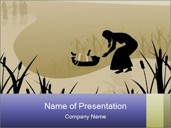 Baby Moses in River PowerPoint Templates - Slide 1