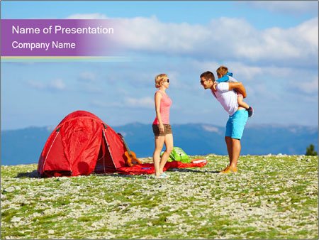 Happy family camping in mountains PowerPoint Template