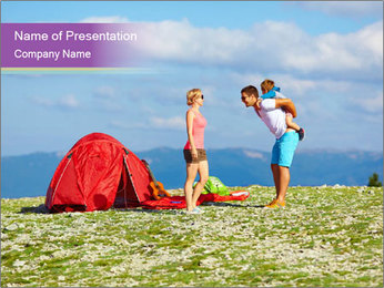 Happy family camping in mountains PowerPoint Template - Slide 1