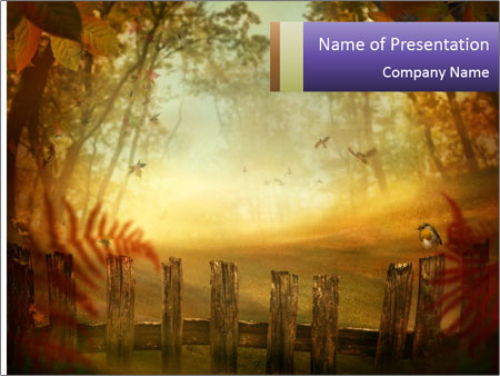 Autumn design - Forest with wood fence PowerPoint Templates