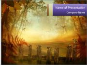 Autumn design - Forest with wood fence PowerPoint Template