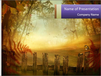 Autumn design - Forest with wood fence PowerPoint Templates - Slide 1