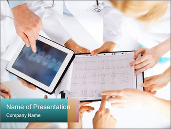 Group of doctors looking at x-ray on tablet pc PowerPoint Template - Slide 1