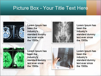 Group of doctors looking at x-ray on tablet pc PowerPoint Template - Slide 14