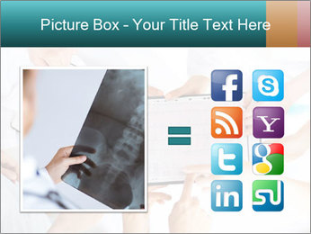 Group of doctors looking at x-ray on tablet pc PowerPoint Template - Slide 21