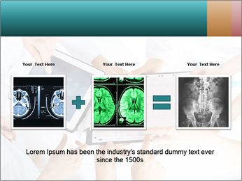 Group of doctors looking at x-ray on tablet pc PowerPoint Template - Slide 22