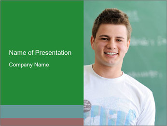 Happy student in a white shirt standing PowerPoint Template - Slide 1
