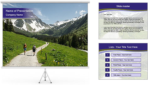 Hikers in the Alps, France PowerPoint Template