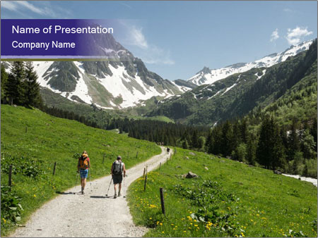 Hikers in the Alps, France PowerPoint Templates