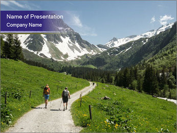 Hikers in the Alps, France PowerPoint Template - Slide 1