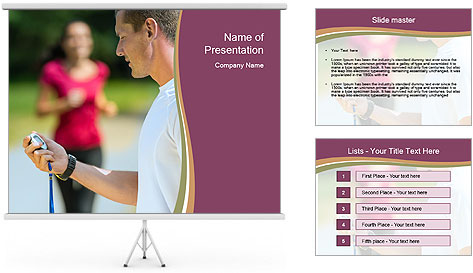 Close up portrait of male coach timing runner PowerPoint Template