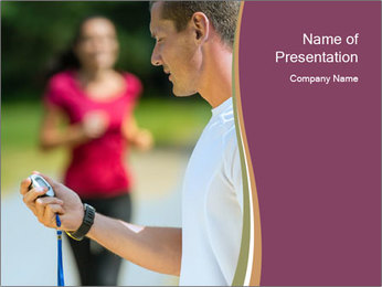 Close up portrait of male coach timing runner PowerPoint Template - Slide 1
