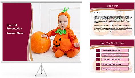 Child in pumpkin suit PowerPoint Template