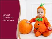 Child in pumpkin suit PowerPoint Template