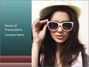 Young sexy brunette woman closeup portrait PowerPoint Templates