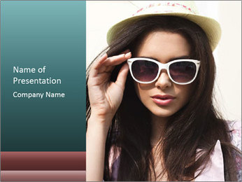 Young sexy brunette woman closeup portrait PowerPoint Template - Slide 1
