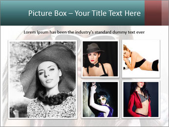 Young sexy brunette woman closeup portrait PowerPoint Template - Slide 19