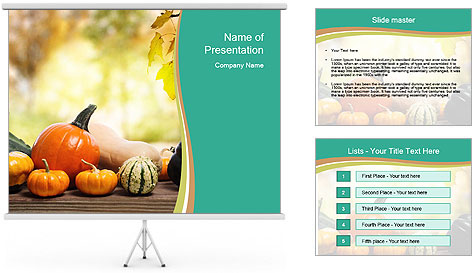 Assorted pumpkins and squashes on rustic wooden PowerPoint Template