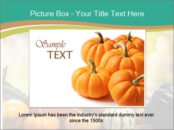 Assorted pumpkins and squashes on rustic wooden PowerPoint Template - Slide 16