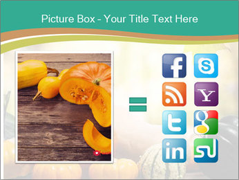 Assorted pumpkins and squashes on rustic wooden PowerPoint Template - Slide 21