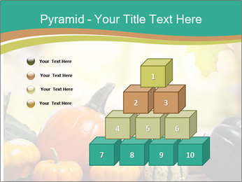Assorted pumpkins and squashes on rustic wooden PowerPoint Template - Slide 31