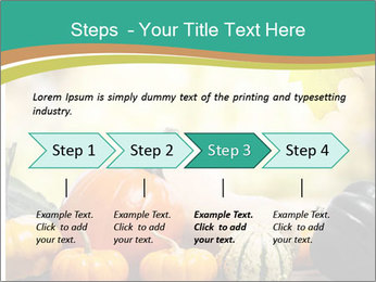 Assorted pumpkins and squashes on rustic wooden PowerPoint Template - Slide 4