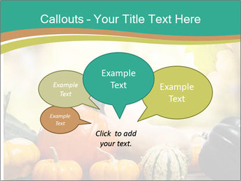 Assorted pumpkins and squashes on rustic wooden PowerPoint Template - Slide 73