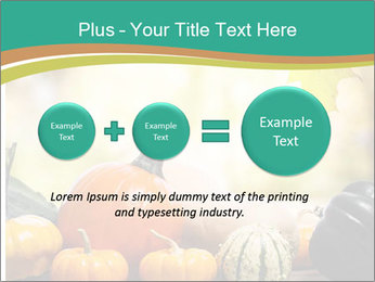 Assorted pumpkins and squashes on rustic wooden PowerPoint Template - Slide 75