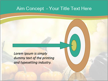 Assorted pumpkins and squashes on rustic wooden PowerPoint Template - Slide 83