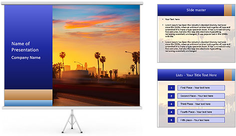 California from freeway PowerPoint Template