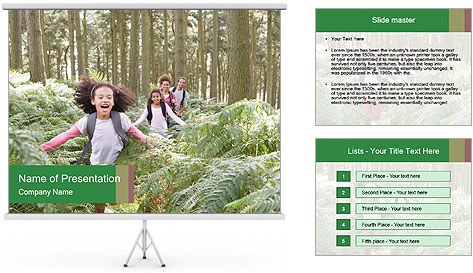 Group Hiking In Woods Together PowerPoint Template