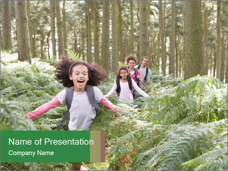 Group Hiking In Woods Together PowerPoint Templates