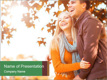 Couple in the autumn park PowerPoint Template - Slide 1