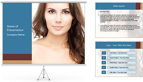 Portrait of beautiful young woman with long curly hair PowerPoint Template