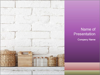 Decorative shelf on white brick wall PowerPoint Template