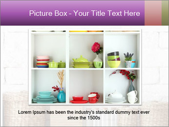 Decorative shelf on white brick wall PowerPoint Template - Slide 16