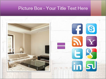 Decorative shelf on white brick wall PowerPoint Template - Slide 21