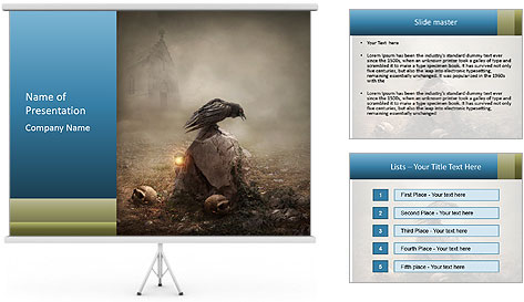 Crow sitting on a gravestone PowerPoint Template