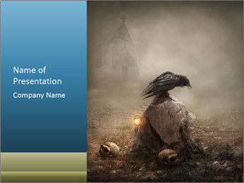 Crow sitting on a gravestone PowerPoint Template - Slide 1