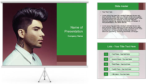 Portrait of handsome man with stylish PowerPoint Template