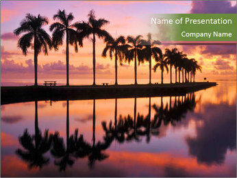 Sunrise at Cutler Bay near Miami PowerPoint Template - Slide 1